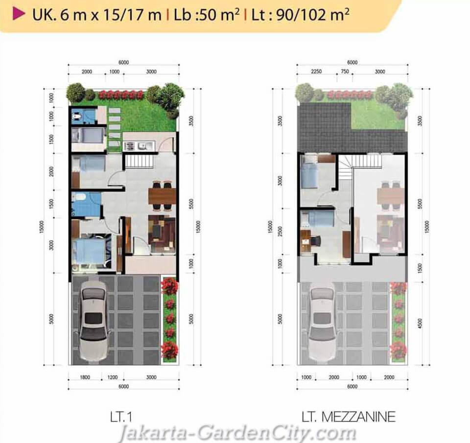 Denah rumah cluster Yarra Tipe Mezzanine