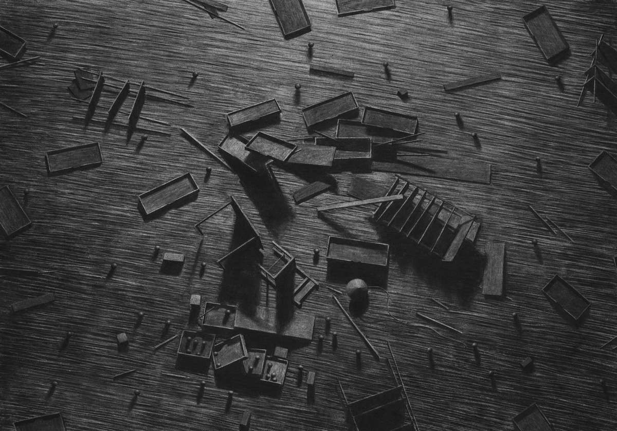 02-Birds-Eye-View-Levi-van-Veluw-Black-and-White-Monochromatic-Charcoal-Drawings-www-designstack-co