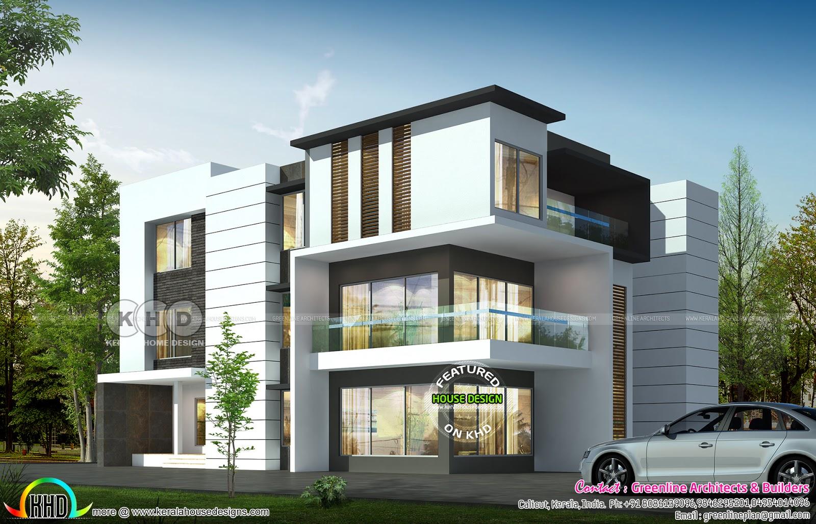 5 bedroom 4040 sq-ft ultra modern home - Kerala home ...