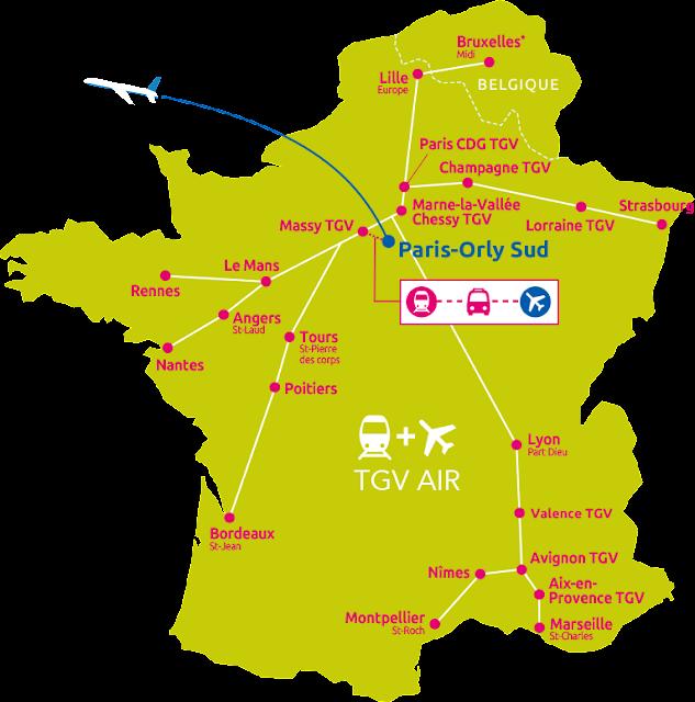 Carte des gares du réseau TGV AIR