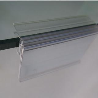 porta precios transparente para cristal