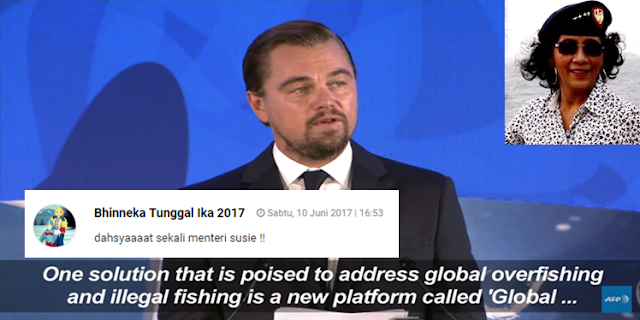 Leonardo DiCaprio Puji Aksi Menteri Susi di Konferensi PBB, Netizen: dahsyaaaat sekali menteri susie !!