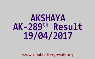 AKSHAYA Lottery AK 289 Results 19-4-2017