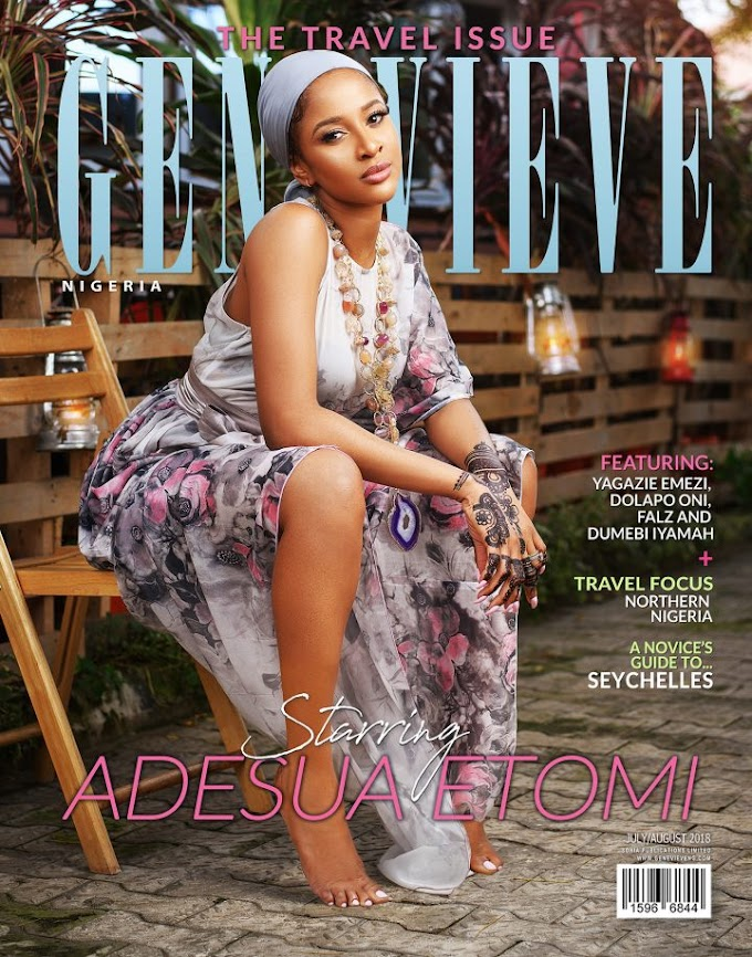 Nollywood Actress Adesua Etomi is the Gorgeous Cover star for Genevieve Magazine's Travel Issue