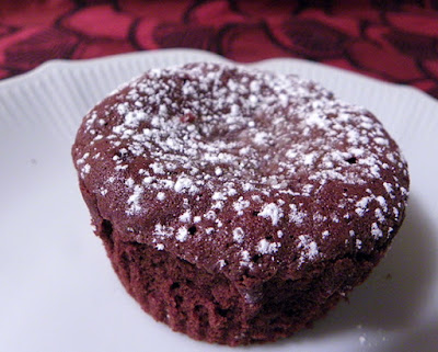 Single Chocolate Molten Lava Cupcake on Plate