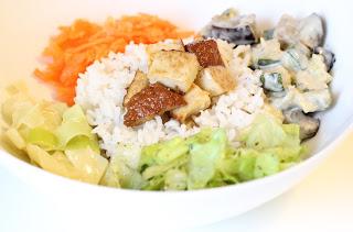 assiette riz tofu carotte salade poireau