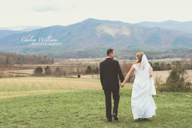 Wedding couple, mountains, cades cove, tennesse, destination wedding