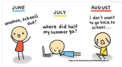 teacher celebrating - woo hoo, schools out! Teacher on laptop - where did half my summer go? Teacher crying - I don't want to go back to school