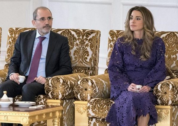 Queen Rania wore Diamondogs Tilda dress, Queen Rania wore Bambah Purple Lace dress and carried Louis Vuitton Chain bag
