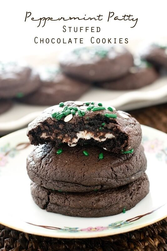 Peppermint Patty Stuffed Chocolate Cookies from Tastes of Lizzy T