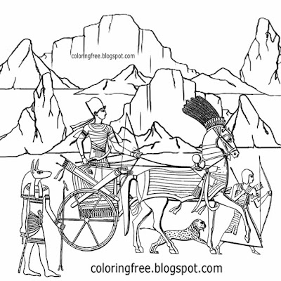 Giza Egypt pyramid landscape transportation kings chariot Egyptian pharaoh coloring page for teens