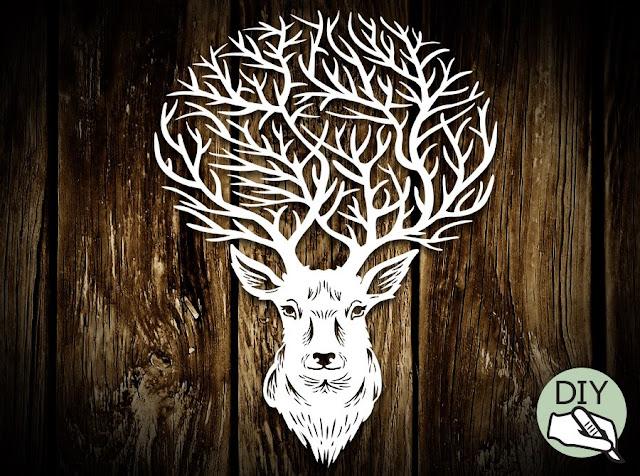 Reindeer Papercut Template