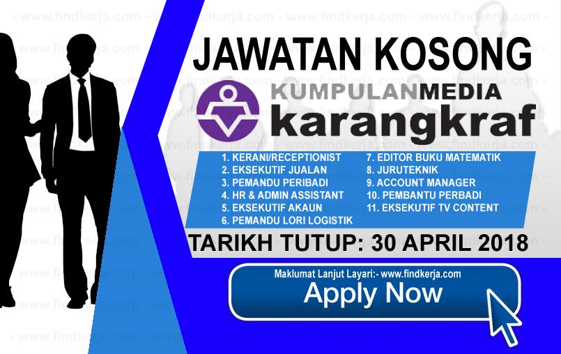 Jawatan Kerja Kosong Kumpulan Media Karangkraf logo www.findkerja.com april 2018