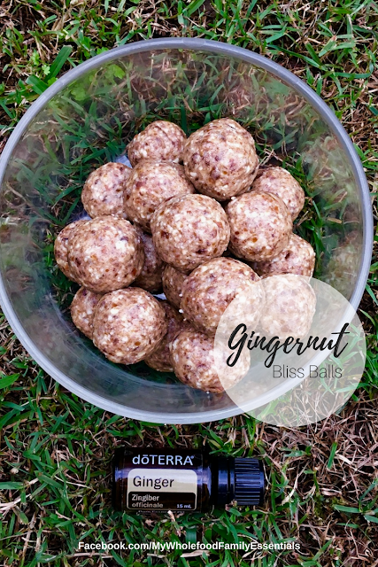 Gingernut bliss balls - GF, DF - ginger essential oil - www.mywholefoodfamily.com