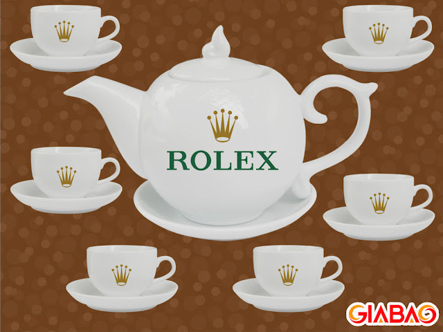 Hình ảnh bộ tách uống trà được in logo thương hiệu