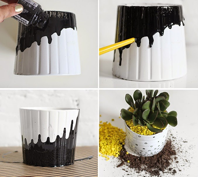 diy les cache pots ikea passent au noir et blanc. Black Bedroom Furniture Sets. Home Design Ideas