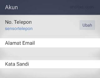 Tombol Alamat email dan Kata sandi - Cara Keluar (Log Out Sign Out) Dari Aplikasi Line - Android