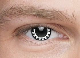 Steampunk contact lenses black and white gear cogwheel cog