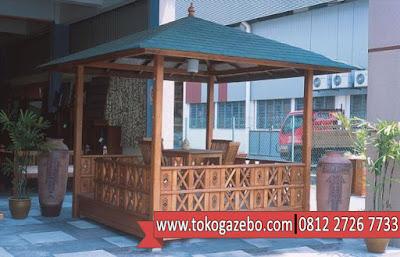 Gazebo Jati Minimalis Atap Kanvas