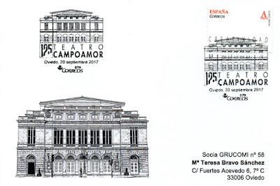 Tarjeta de Grucomi con matasellos del Teatro Campoamor