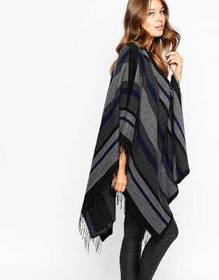 French Connection Striped Blanket Cape