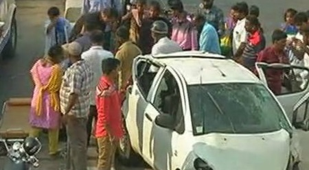 FIRST VISUAL | Car topples from bridge at Chennai Kamarajar Salai, 2 injured