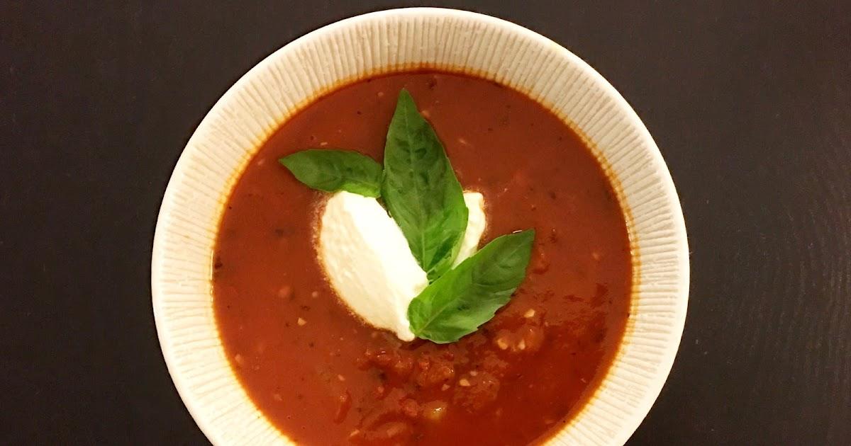 Chunky Vegetable Tomato Soup with Yogurt