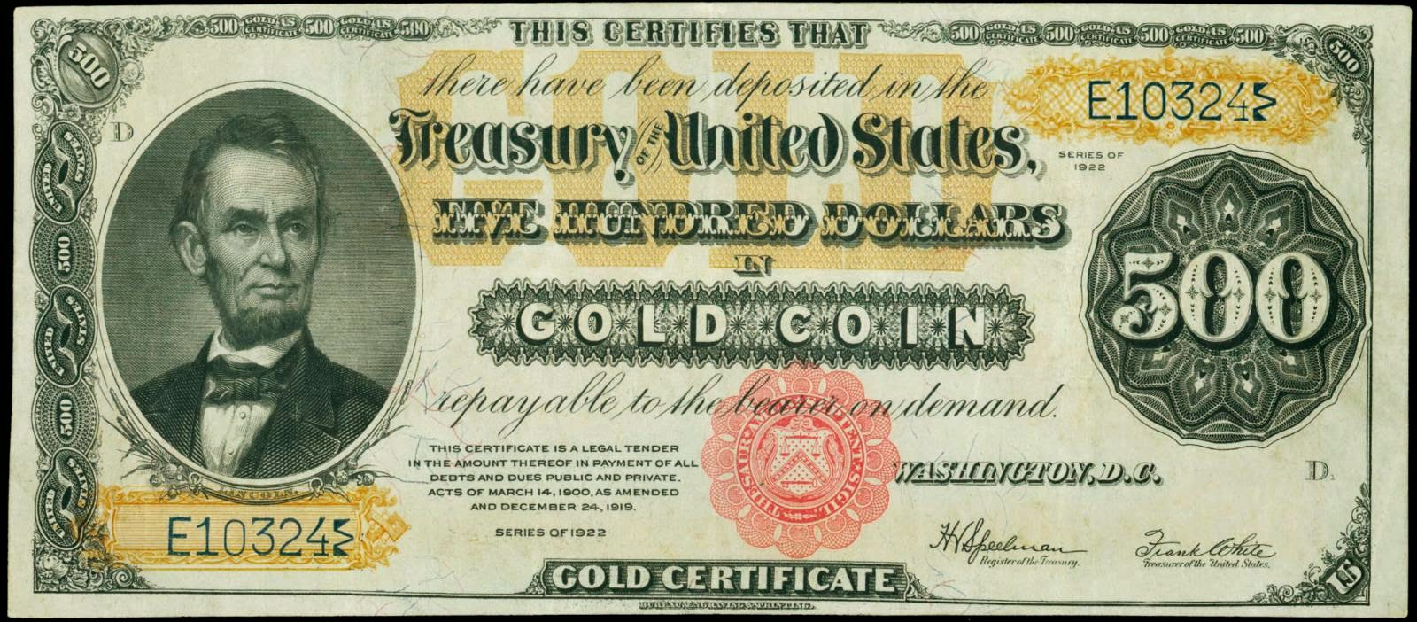 500 Dollar bill Gold Certificate Series 1922 Abraham Lincoln
