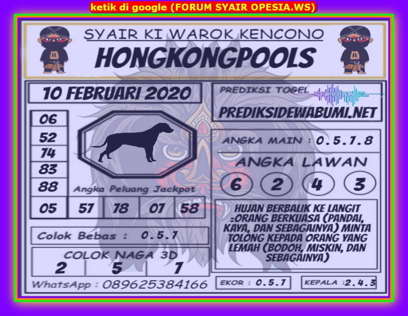 Kode syair Hongkong Senin 10 Februari 2020 135