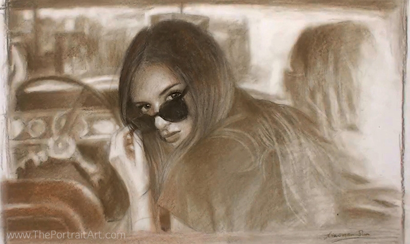 16-Girl-in-a-Car-Xiaonan-Pencil-Charcoal-and-Pastel-Portrait-Drawings-www-designstack-co