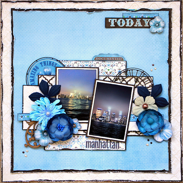 Manhattan Scrapbook Page by Ulrika Wandler using BoBunny Penelope Collection