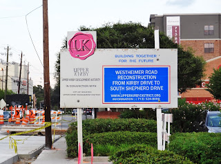 Upper Kirby Westheimer Rd re-construction project sign