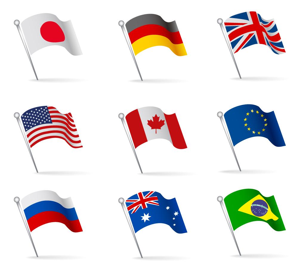 イラスト イラスト 国旗 : 波打つ国旗のクリップアート ...