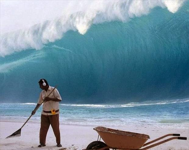 Beach Cleaning Man Giant Wave Fail Joke Picture
