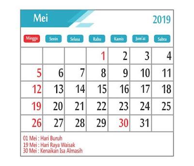 Kalender Mei 2019 - tanggal merah