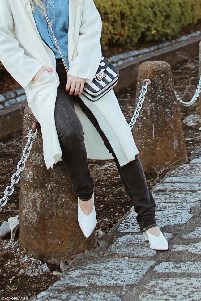 Japanese Fashion Blogger,20171209OOTD,Dungaree shirt,UNIQLO=Black denim,GU=cordigan,V cut sandals,RoseGal=polka dot and stripe crossbody bag