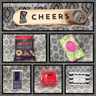 subscription box, women, food, scarves, games, bottle opener, nail polish