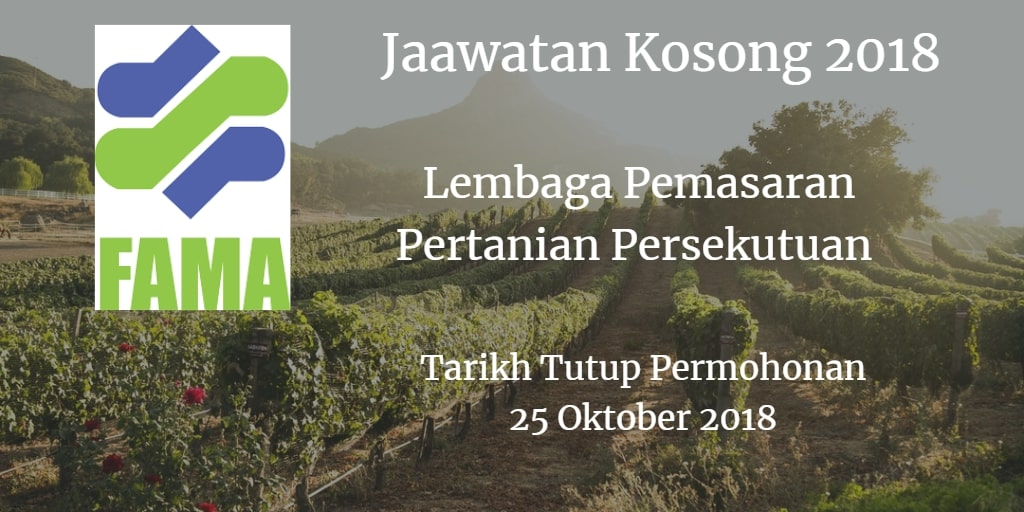 Jawatan Kosong FAMA 25 Oktober 2018