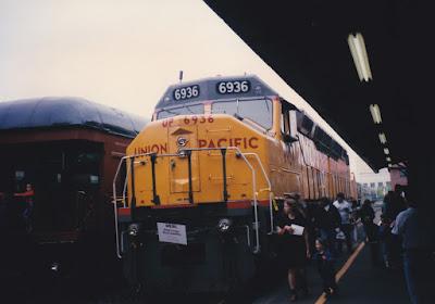 Union Pacific DDA40X #6936 at Union Station in Portland, Oregon, on May 11, 1996