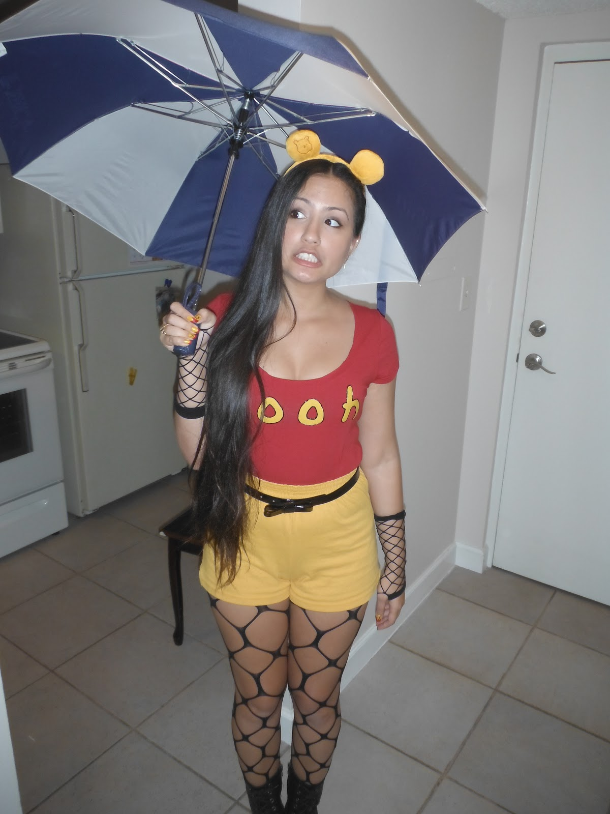 39a6f2731148 Dizzida  DIY Adult Female Winnie The Pooh Costume   Manicure