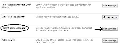 Instant Personalization > Edit Settings