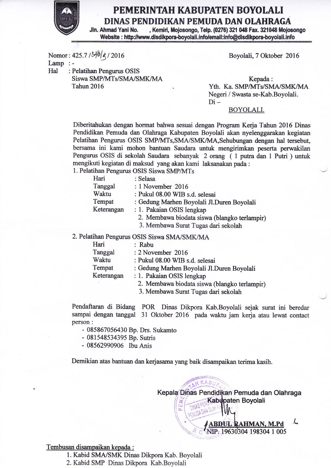 INFO SMA SMK KABUPATEN BOYOLALI: PELATIHAN PENGURUS OSIS ...
