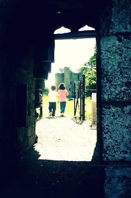 silhouettes from the ruins in Trim, meath, Ireland