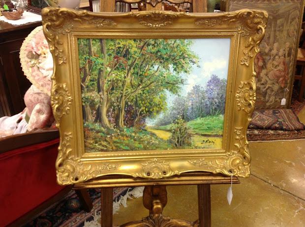 Art Original Oil Canvas In Carved Gilt Wood Frame