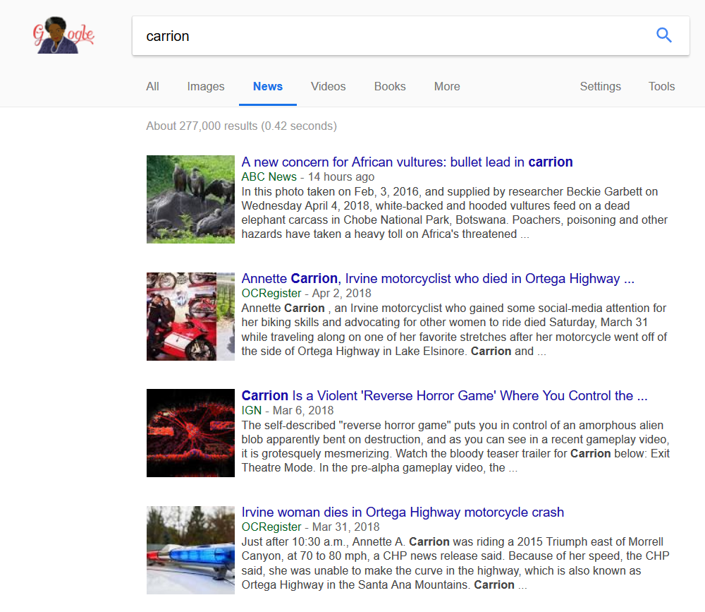 carrion Google news capture