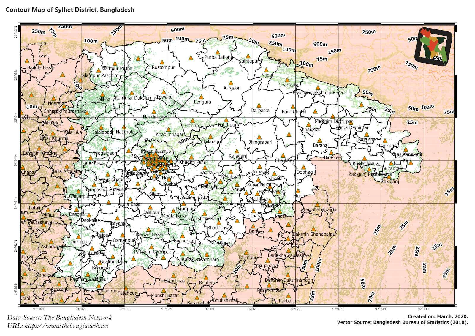 Elevation Map of Sylhet District of Bangladesh