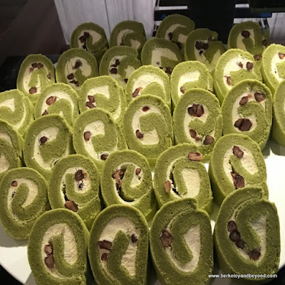 green matcha cakes at The Garden Court Western Restaurant at Parkview Hotel in Hualien, Taiwan