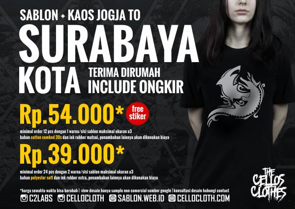 Harga sablon kaos SURABAYA Kota dari Jogja include ongkos kirim