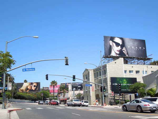 Designer eyewear billboards Sunset Boulevard