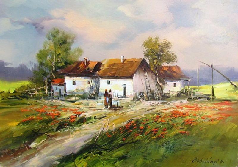 Cuadros pinturas oleos vistas casas campesinas pinturas - Paisajes de casas ...
